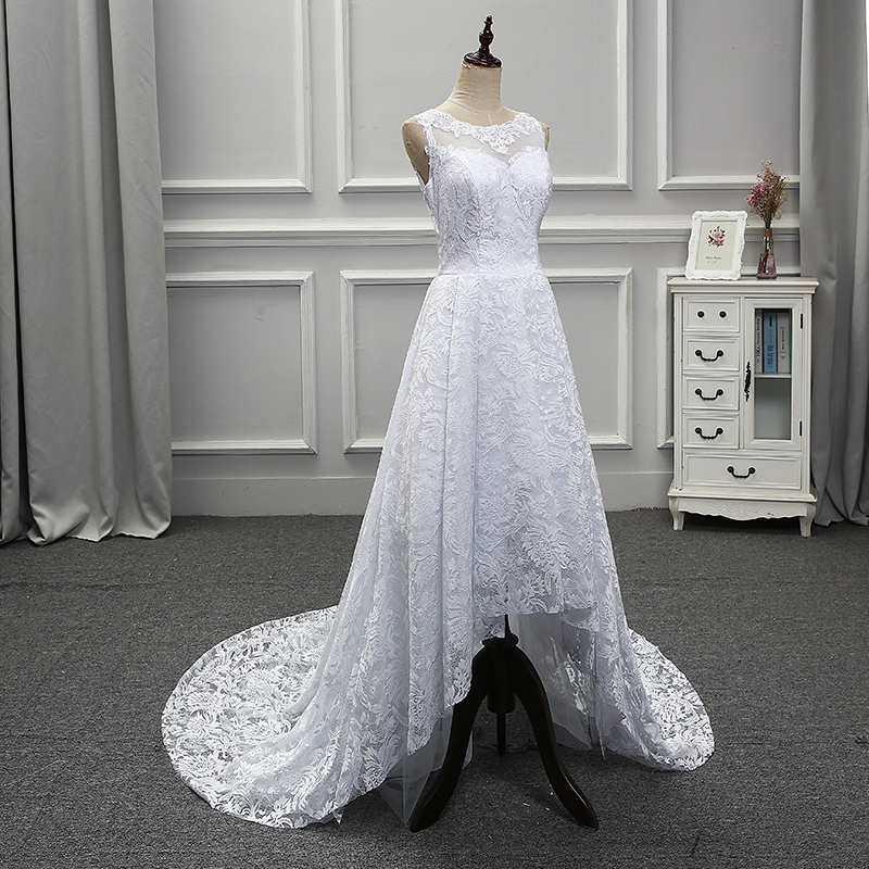 2018 Hot Vintage Style Strapless Lace A Line O Neck with Full appliques Back Button Court Train Floor Length Wedding Dresses