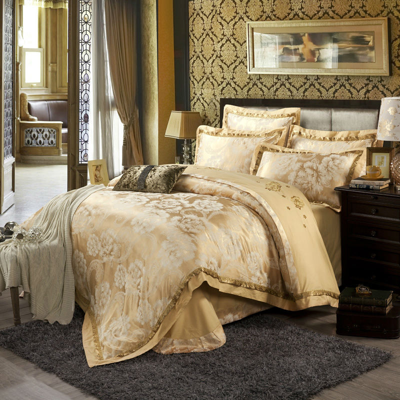 chinese retro style duvet cover set light tan beautiful peonies print linens silk cotton jacquard queenking size bedding sets