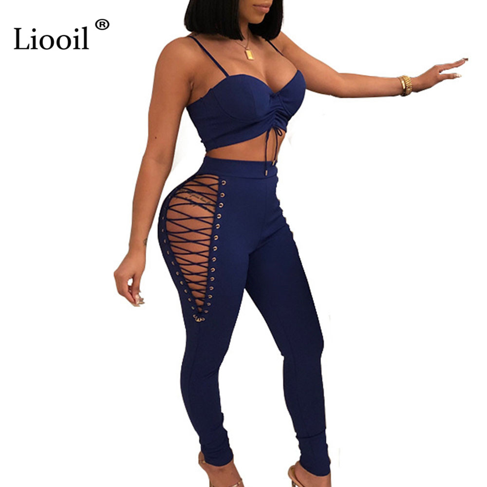 Women's Clothing Liooil White Striped Rompers Womens Jumpsuit Spring Ribbed Sleeveless Bodycon Two Piece Set Female Overalls Casual Tracksuit