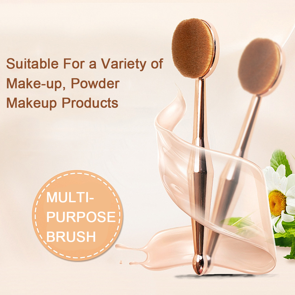 Single Makeup Brushes Golden Foundation Brush Cream Powder Blush Make Up Brush Toothbrush Oval Shape brochas maquillaje image