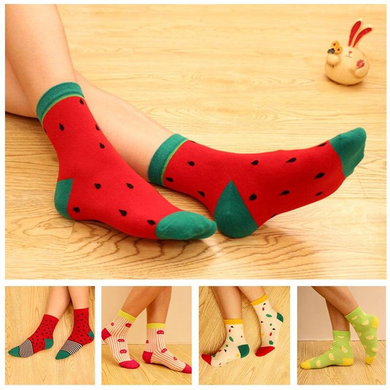 Sale 2018 New Cotton Fruit   Socks   Women Watermelon Pineapple Kawaii Food Spring Girls   Socks