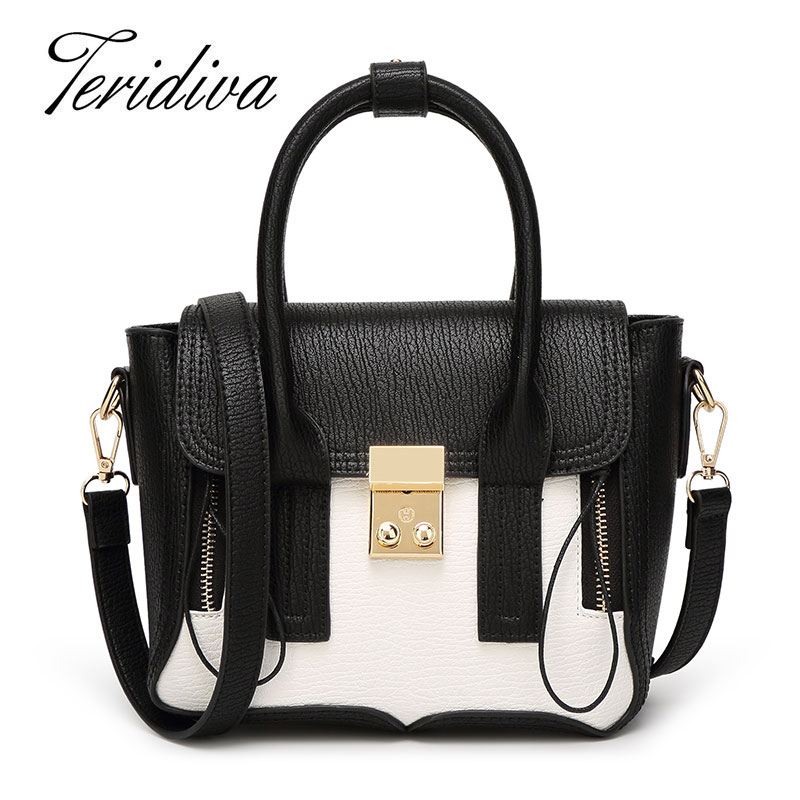 ФОТО Teridiva Famous Designer Purses and Handbags 2017 Tote Bag Patchwork Shoulder Bags PU Leather Handbag Tassel Women Messenger Bag