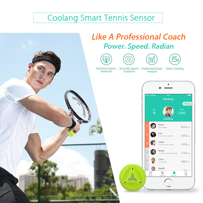Free shipping!Coollang XiaoYu Smart Tennis Tracker Sensor Training Aid Swing Act