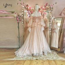 Вечернее платье цвета шампанского в стиле ретро длинные кружевные
