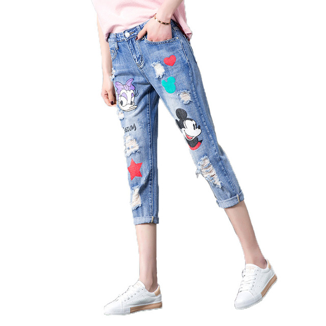 48bc160f970 Casual Patch Cartoon Mickey Mouse Jeans Printed Ripped Boyfriend Jeans For Women  Destroyed ripped jeans Ankle Denim Pants