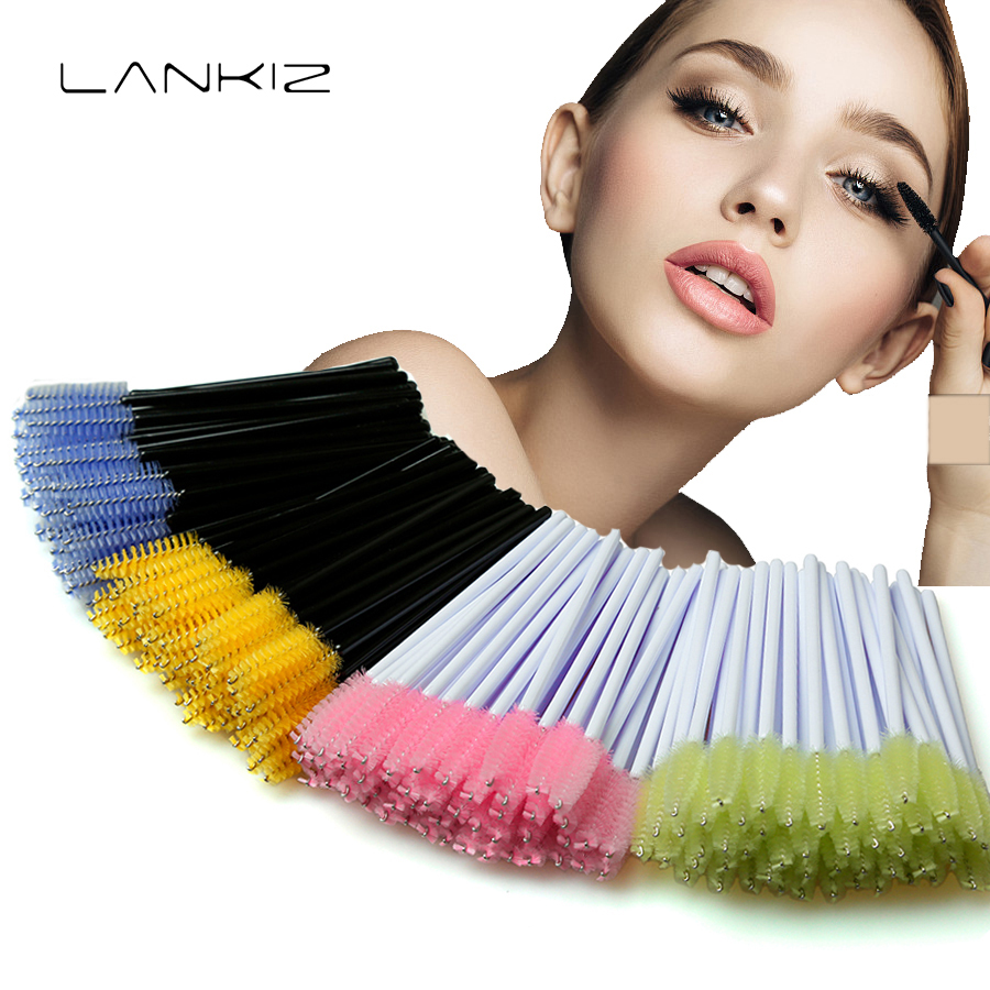 50Pcs/Pack Eyelash Makeup Brush 8 Colors Lash Extension Disposable Comb Mascara Applicator Wand Silicone Tool New Arrived