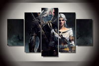 High Quality Rushed Wall Art Pictures Unframed The Witcher Geralt And Ciri Oil Painting On Canvas