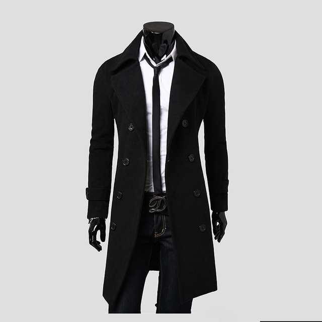 db3a191dc3c28 2017 Fashion Gentleman style Men s Autumn Winter Coat Turn-down Collar Wool  Blend Men Pea