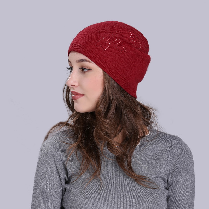 Lady Knitted Wool Cashmere Hat Autumn Winter Women Hat Knit   Skullies     Beanies   Hats for Girls Female Diamond Knitted Hat B-1067