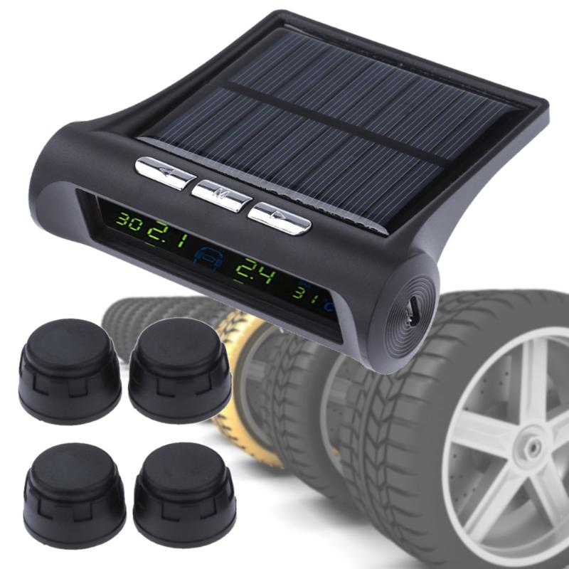 LCD Solar Power Car Tire Pressure Monitor Wireless TPMS External Smart Wheel Tyre Air Pressure Monitoring System with 4 Sensors tpms lcd display car wireless tire tyre pressure monitoring system 4 external sensor for cars solar power careud diagnostic tool