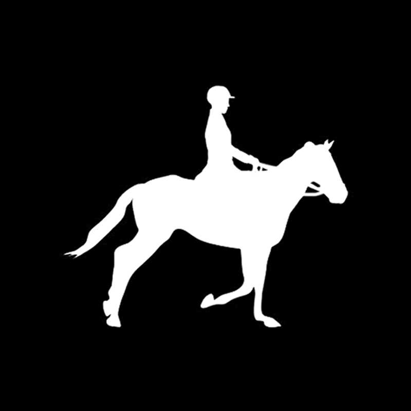 QYPF 13.8*11.7 CM Ilginç Atlı Spor Dekor Araba Sticker Yüksek Kalite Yansıtıcı Aksesuarları Siyah/Gümüş C16-0905