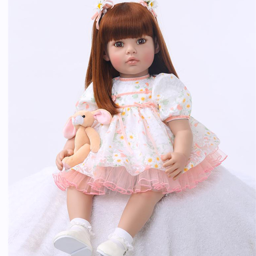 60cm Bebe doll reborn 24 soft silicone reborn baby doll toy newborn girl  princess doll birthday gift for kids poupee reborn60cm Bebe doll reborn 24 soft silicone reborn baby doll toy newborn girl  princess doll birthday gift for kids poupee reborn
