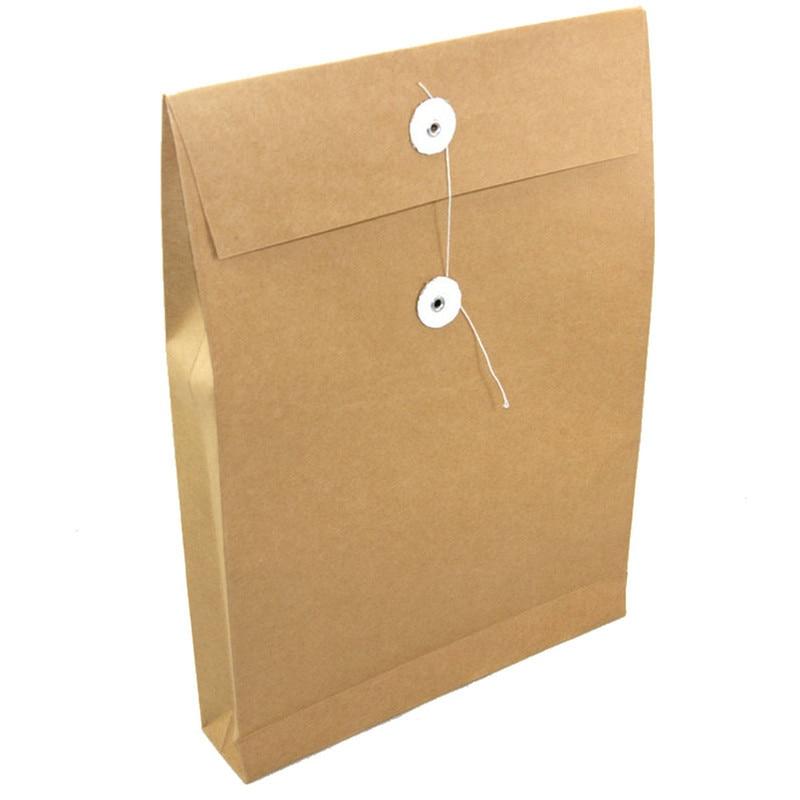 A4 brown kraft paper file holder envelope bags document storage organizer envelopes with string school office project folder bag