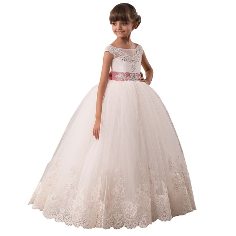 Little   Girls   Wedding Party   Dress   Long Kids Ball Gowns White First Holy Communion   Dress   Lace Tulle Toddler   Flower     Girl     Dress