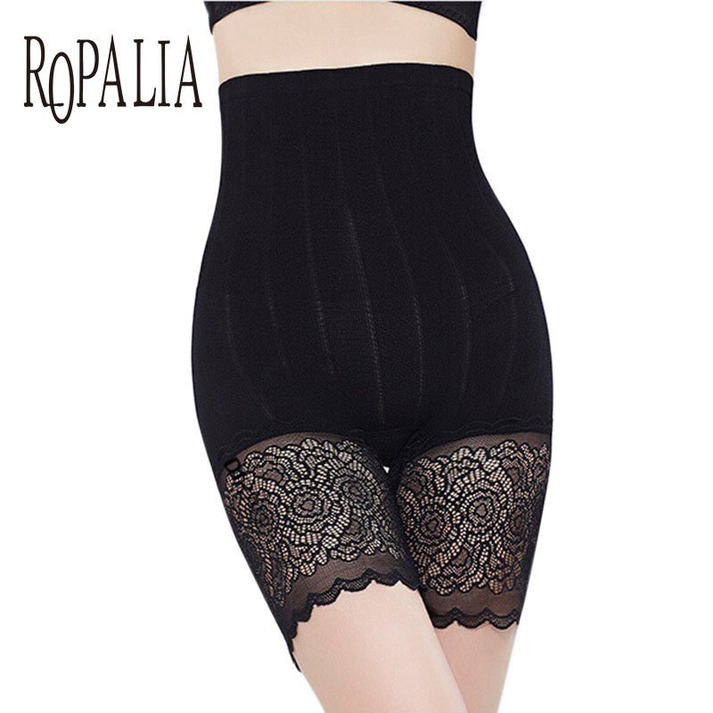 ROPALIA Women's Panties Safety Short Pants Girls Care Control Elastic Body Slimming Belly High Waist Briefs Lace Pant Intimates