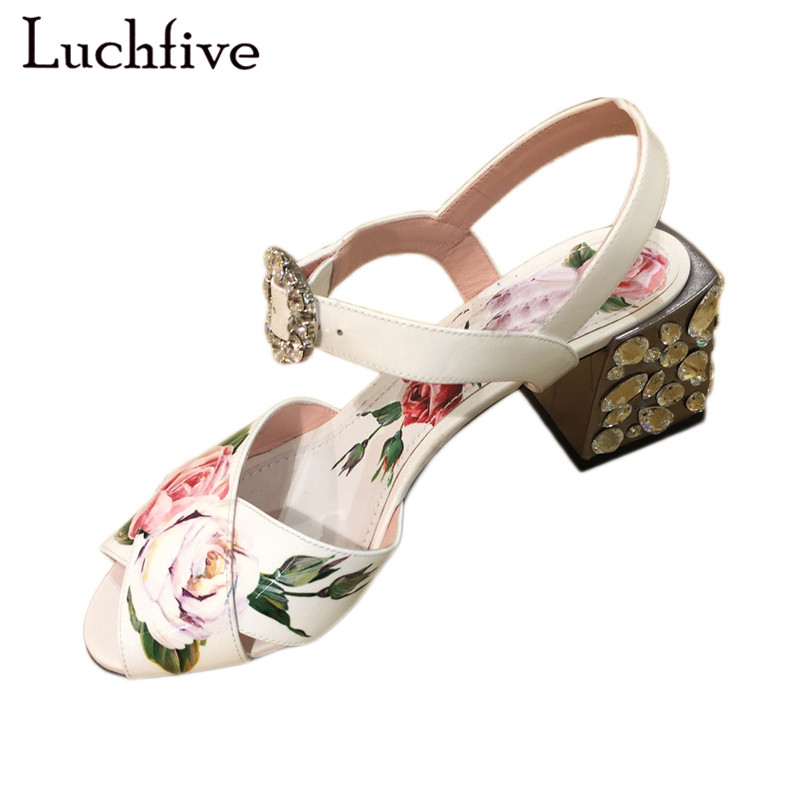Pink white flowers sandals women crystal studded crossover chunky high heels runway rhinestone summer wedding shoes