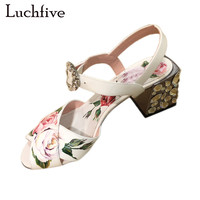 Pink white flowers sandals women crystal studded crossover chunky high heels runway rhinestone summer wedding shoes for ladies