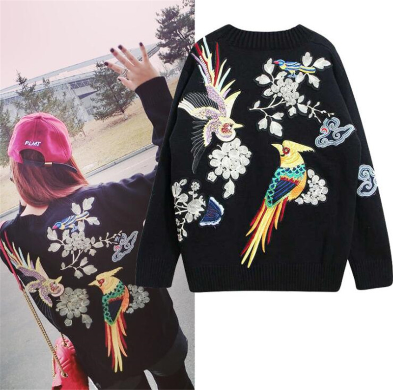 Chinese style Oversized Sweater 2017 Winter Fashion Flower Bird Luxury Embroidery Runway Knitwear Loose Casual jumper Pull Femme ...
