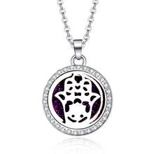 2019 New Zircon Pendants Hand of Fatima Necklace For Women Crystal Aroma Diffuser Stainless steel pendant Aromatherapy Locket(China)