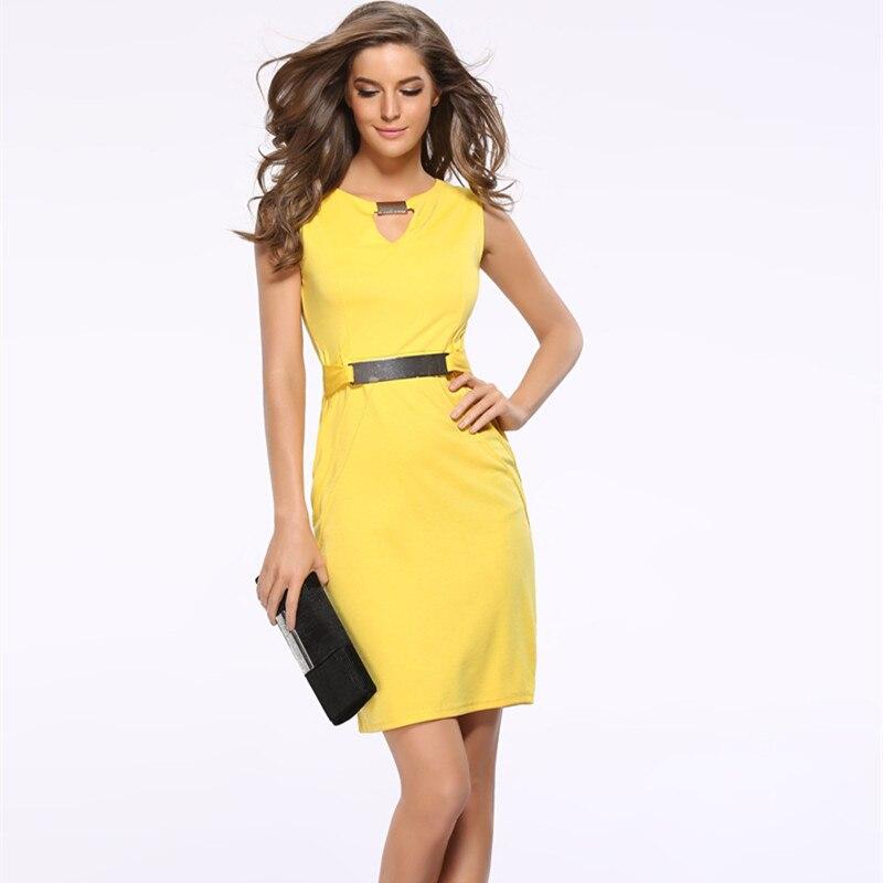 Women Summer Dress Fashion Hollow Out Sleeveless Pencil Dress Knee Length Women Casual Dresses Yellow Red Blue Black Plus Size