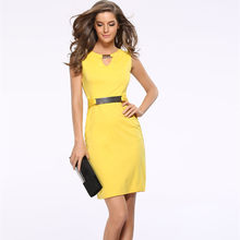 Women Summer Dress Fashion Hollow Out Sleeveless Pencil Dress Knee Length Women Casual Dresses Yellow Red Blue Black Plus Size(China)