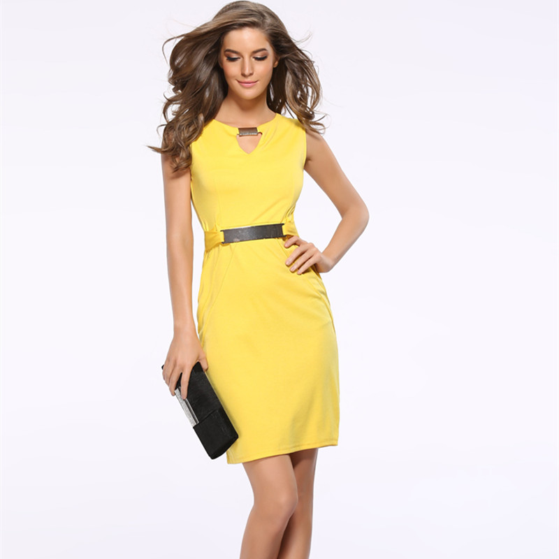 Women Summer Dress 2018 New Fashion Hollow Out Sleeveless Pencil Dress Knee Length Women Casual Dresses Yellow Red Blue Black