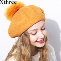 Xthree Winter Wool Beret Hat With Fur Pom Pom Knitted Hat For Women Girls Winter Cap