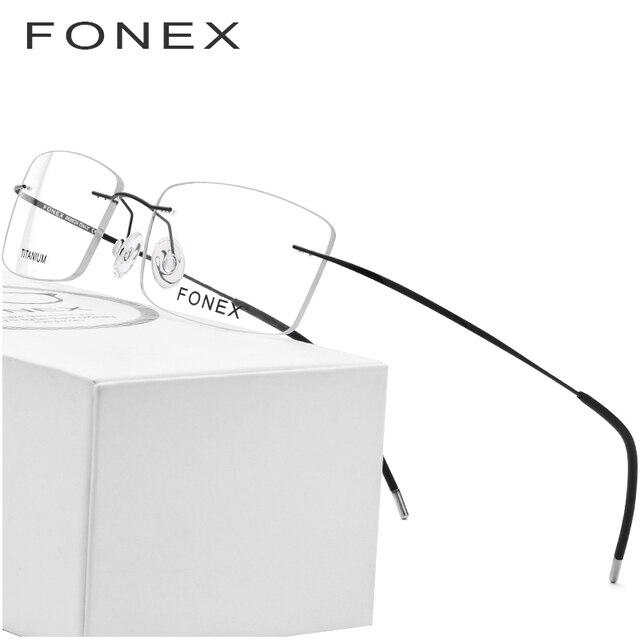 6138fb781 FONEX Liga De Titânio Sem Aro Óculos de Armação Homens Ultraleve Quadrados Prescrição  Homem Miopia Frame Ótico 76127