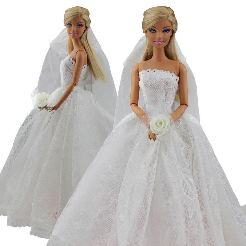 Saleaman Wedding Dress for Barbie Doll Princess Evening Party Clothes Wears Long Dress Outfit Set for Barbie Doll with Veil high quality 1x wedding party dress lace gown evening party princess skirt 1x veil clothes for barbie doll accessories kid toy
