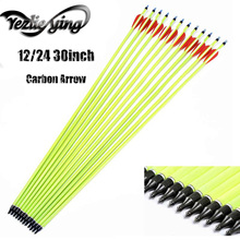 цена на 6/12PCS Yellow Carbon Arrow 30 Inch Red White Feather Carbon Arrows For Recurve Bows For Recurve Bows Hunting Arrows Archery