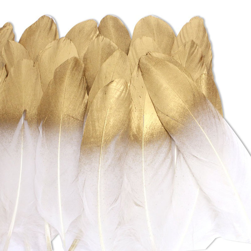 WXBOOM 36PCS Gold Dipped Natural White Feathers for Various Crafts, Birthday Parties, Wedding and Party Dress-ups (Gold Dipped)