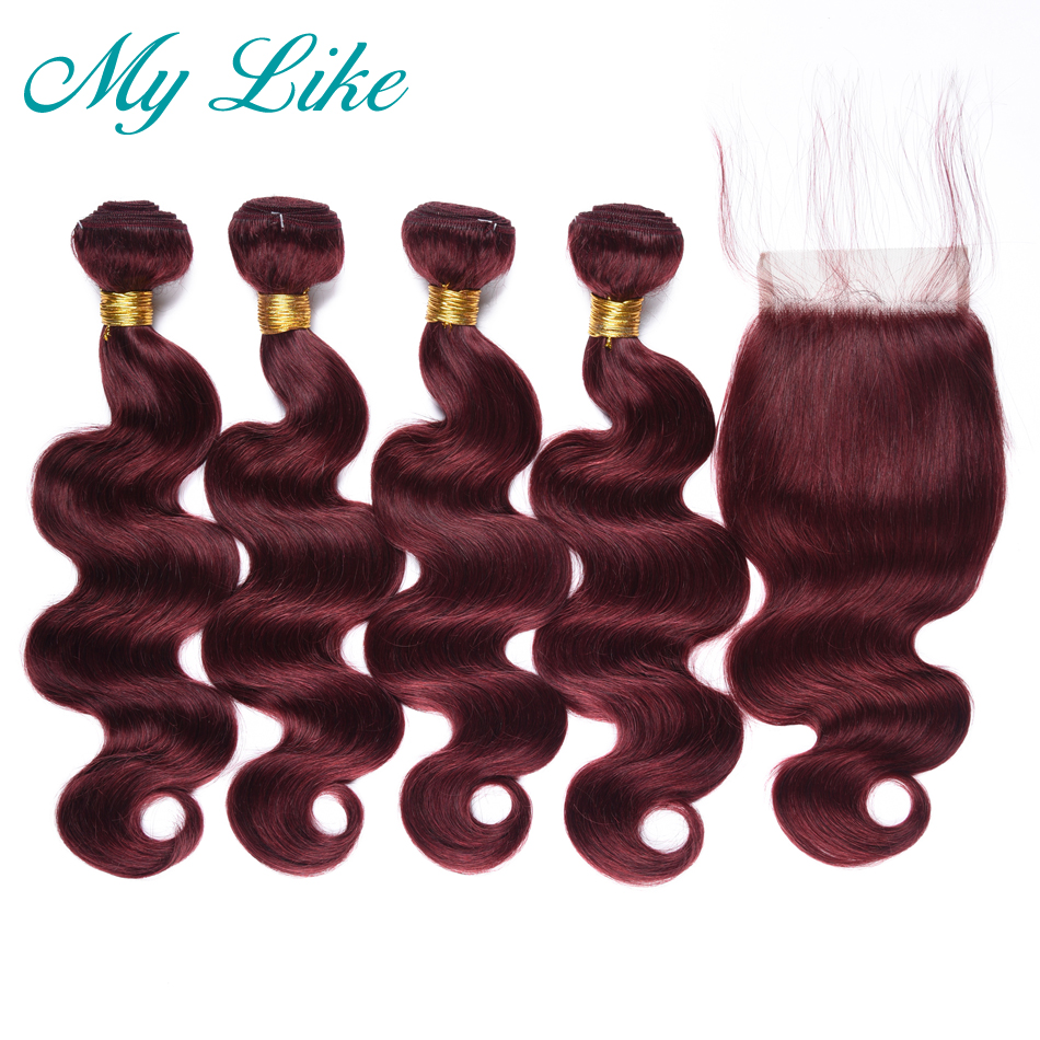 My Like Peruvian Body Wave Bundles With Closure Nonremy 99j Red Wine Weave Human Hair Extension 4 Bundles With Closures Burgundy