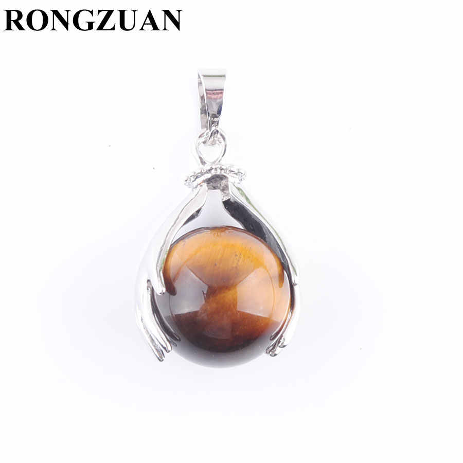 RONGZUAN Natural Tigers Eye Round Ball Stone Beads Silver Plated Hands Palm Pendants Reiki Chakra Healing Jewelry 1Pcs TN3149