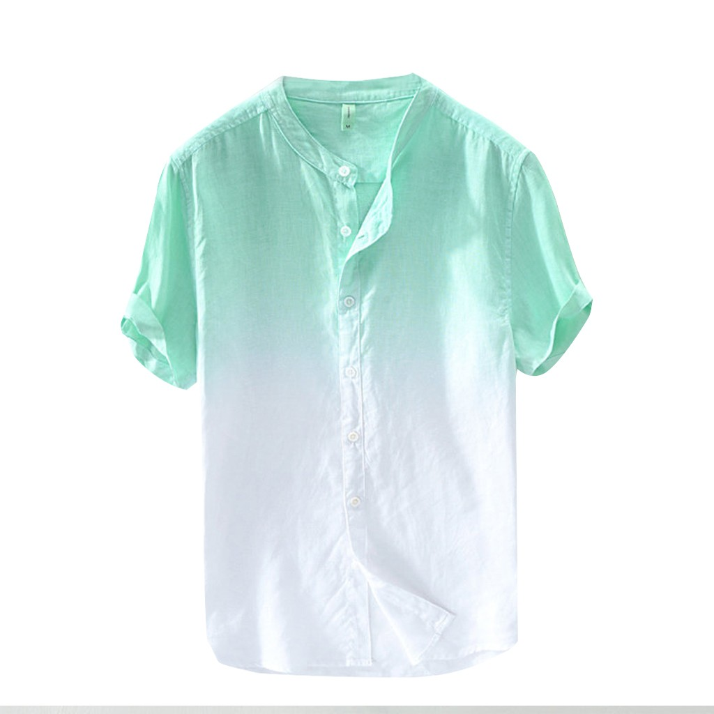 Men Clothes 2019 Summer Men's Cool And Thin Breathable Collar Hanging Dyed Gradient Cotton Shirt