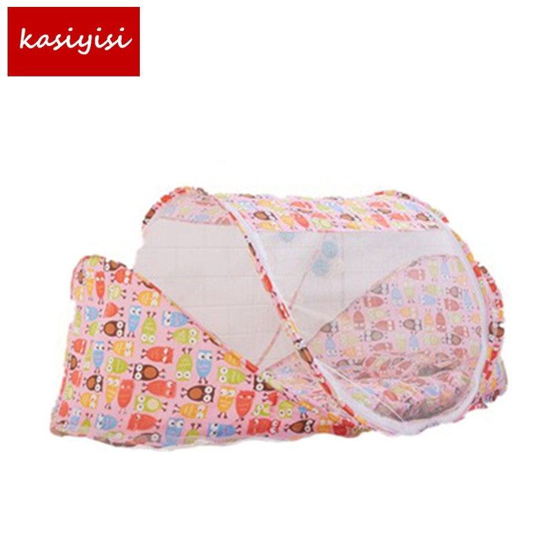 3- Piece Suits Baby Children Colorful Folding Bed Mosquito Net Bed Net with Mattress Pillow