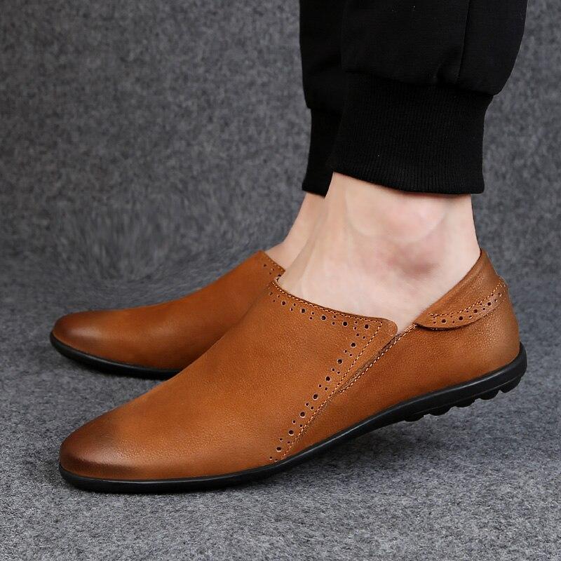 Marque Pria marron En Sur Italien Northmarch Mokasin Sepatu Noir Kulit Des Mens Chaussures Glissement Véritable Hommes Mocassins Kasual Pour Cuir 453ARjL