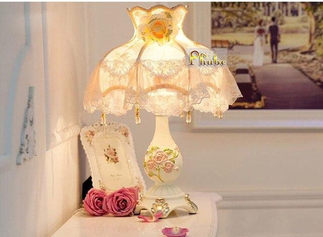 Европейский стиль современный смола стол лампа стол лампа ночники стол лампа с красивой ткань тень гарантировано 100%