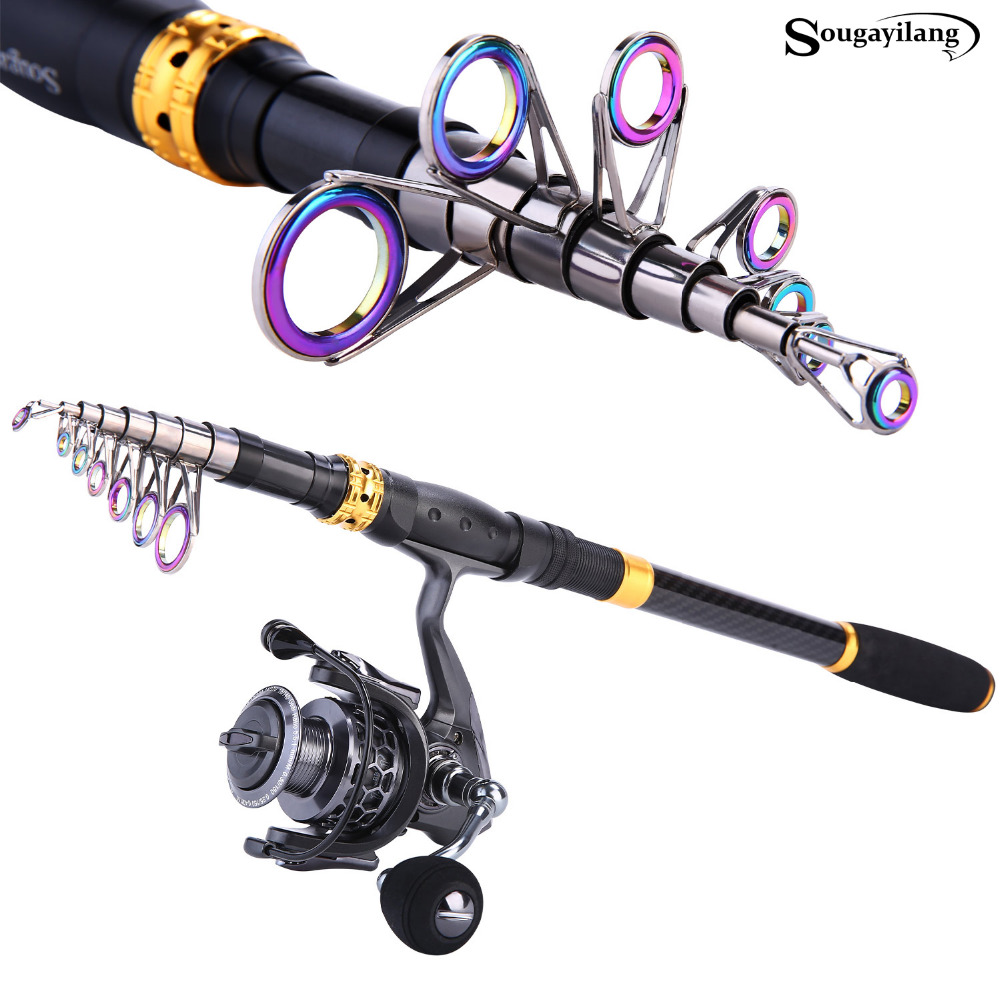 Sougayilang 1.8-3.3m Telescopic Fishing Rod and 14BB Spinning Fishing Reel With Free Coil Sets Carp Carbon Rods Reel Combo pesca