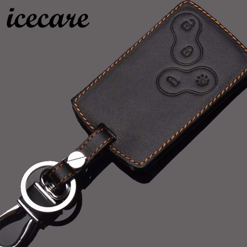 Icecare Leather Keyring For Renault Key Cover Koleos Laguna Megane 1 2 3 Sandero Scenic Captur Fluence For Renault Key Holder renault megane б у в пензе