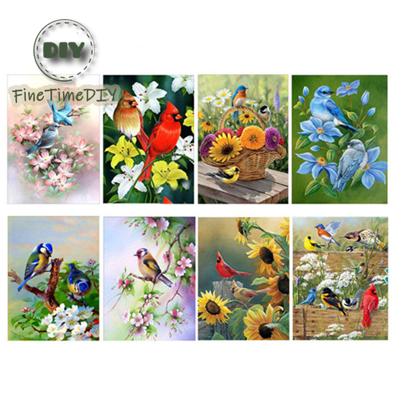 FineTime 5D Diamond Painting Animals Partial Round Drill Flowers DIY Diamond Embroidery Parrots Birds Mosaic Cross Stitch in Diamond Painting Cross Stitch from Home Garden