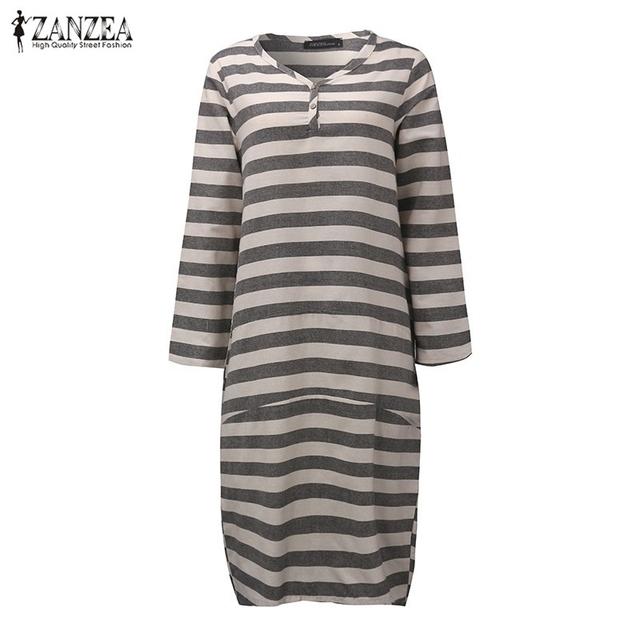 ZANZEA Women 2017 Autumn Ladies Casual Loose Dress V Neck Long Sleeve Stripe Print Oversize Calf Length Dress Vestidos Plus Size