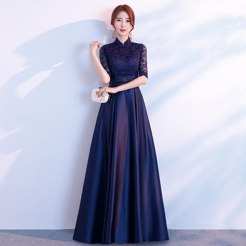 Beauty-Emily Long Half Sleeve   Evening     Dresses   Elegant Lace Embroidery Fashion Design Bow Pleated Party Prom Gowns For Wedding