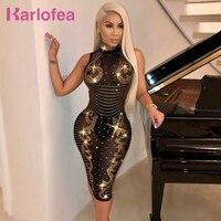 Karlofea Sexy Sheer Mesh Diamond Midi Dress Women Plus Size XXXL Sleeveless Club Night Party Wear Dress Fashion Rhinestone Dress