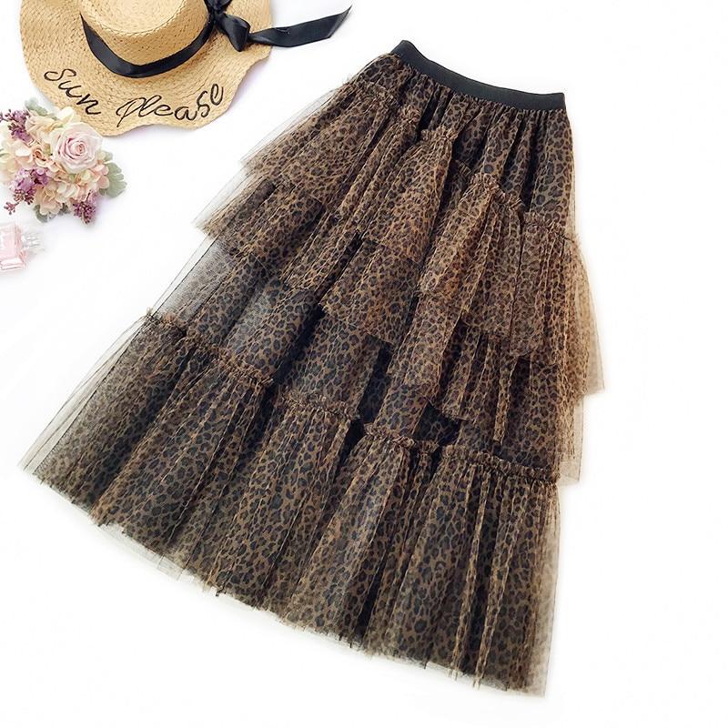 Wasteheart Balck Yellow Women Skirts Fashion Asymmetrical Vintage Leopard Mid-Calf Length Skirt Clothing Empire Plus Size