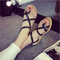 The new flat with 2016 sets of toe flat Roman sandals woman casual summer European and American fashion shoes wild student