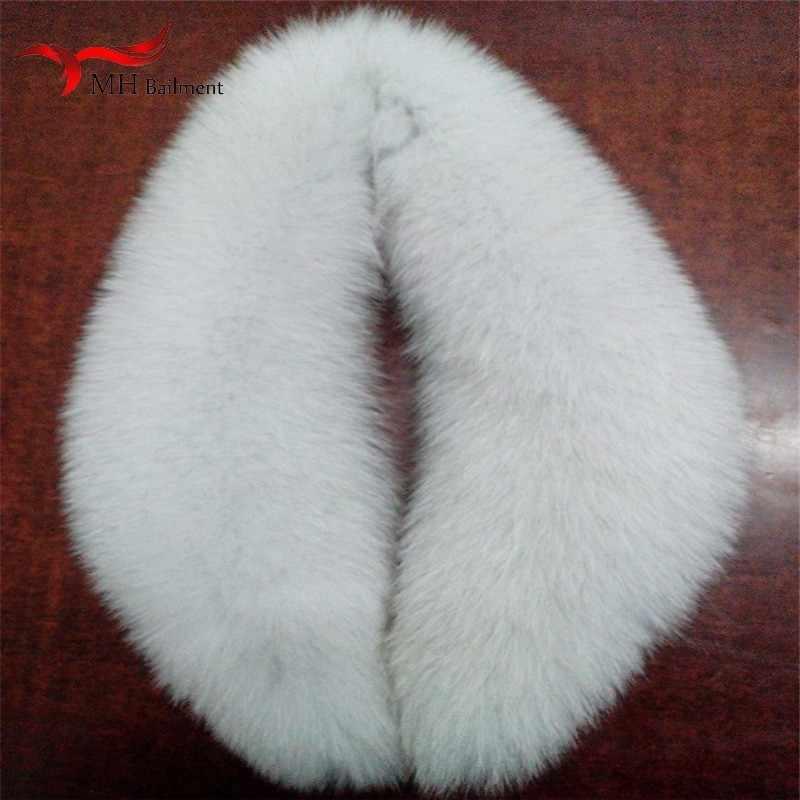 Blauw vos bont sjaal real fox bontkraag vrouwen winter nieuwe luxe merk stijl hoed kraag vrouwelijke jas sjaal lange sjaal dames W #4