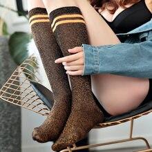 Japão estilo feminino glitter bonito coxa alta sobre o joelho meias longas meias de algodão meia sexy coxa alta cintilante meias