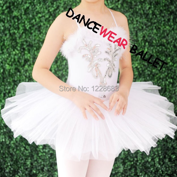 New 2014 Sequin Feather White Swan Lake Ballet Costume Tutu For Girls