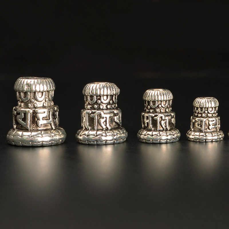 Mar MEW 10 PCs Nepal Stupa espaciador cuentas de aleación de plata tibetana agujero de cuentas DIY piezas, Om Mani Padme Hum