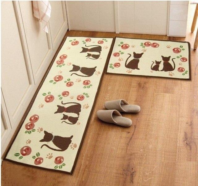 Zakka cat rug retro home decor tapetes de cozinha gatos bedside doormat carpet slip-resistant